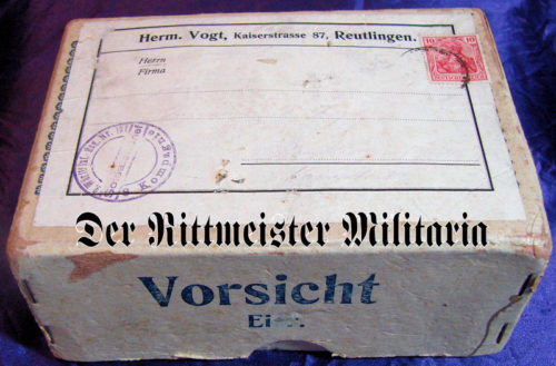 CARDBOARD SHIPPING BOX - FRONT - Imperial German Military Antiques Sale