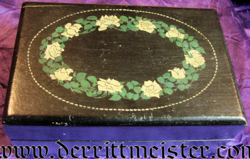 WOODEN BOX - ROSE MOTIF - Imperial German Military Antiques Sale