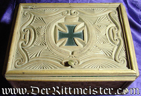 PATRIOTIC BOX - intricately carved - with Iron cross motif - Imperial German Military Antiques Sale