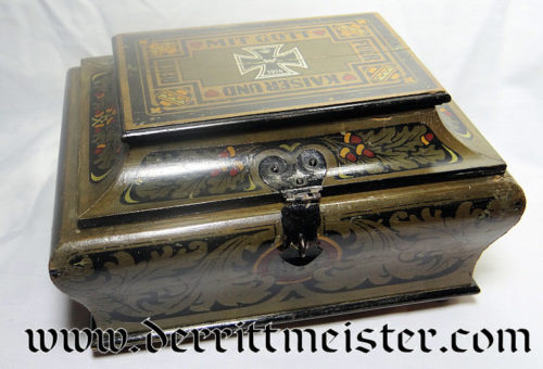 WOODEN BOX COMMEMORATING KAISER WILHELM II - Imperial German Military Antiques Sale