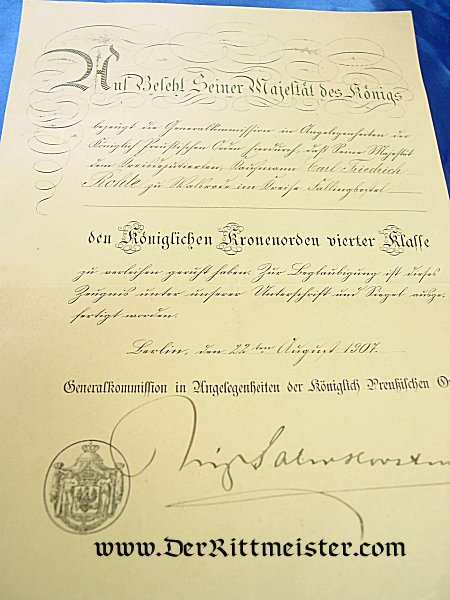 RED EAGLE ORDER 4th CLASS AND AWARD DOCUMENTS - PRUSSIA - Imperial German Military Antiques Sale