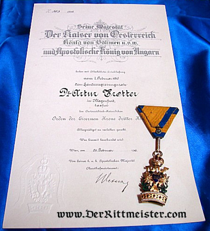 IRON CROWN ORDER 3rd CLASS WITH SWORDS - ORIGINAL AWARD DOCUMENT - AUSTRIA - Imperial German Military Antiques Sale