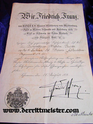 MILITARY SERVICE CROSS 2nd CLASS DOCUMENT AND DECORATION - MECKLENBURG-SCHWERIN - Imperial German Military Antiques Sale