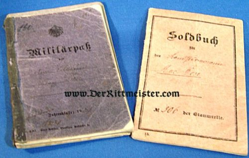 DOUBLE MILITÄRPAß AND SOLDBUCH - ARMIERUNGS-BATAILLON Nr 79 - Imperial German Military Antiques Sale