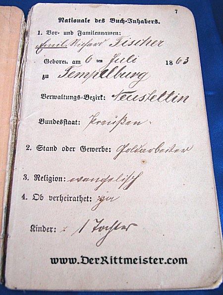 MILITÄRPAß FOR A MAN IN INFANTERIE-REGIMENT Nr 49 PRUSSIA - Imperial German Military Antiques Sale