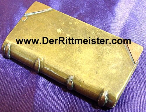 BRASS TRENCH ART LIGHTER - BOOK-SHAPED - Imperial German Military Antiques Sale