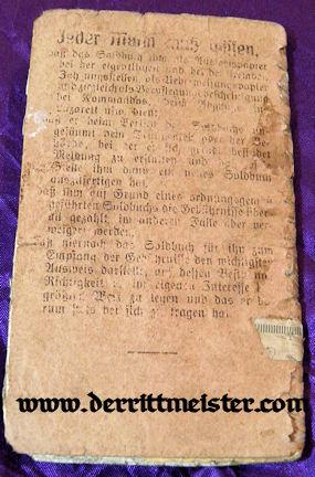 MILITÄRPAß - SOLDBUCH - INFANTERIE-REGIMENT Nr 95 - WW I - Imperial German Military Antiques Sale