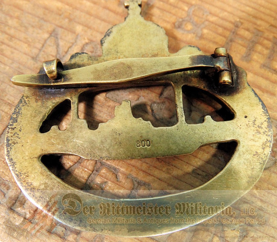 U-BOOT BADGE WITH .800 SILVER HALLMARK - Imperial German Military Antiques Sale