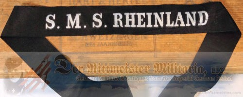 ENLISTED MAN'S S.M.S. RHEINLAND CAP TALLY - Imperial German Military Antiques Sale