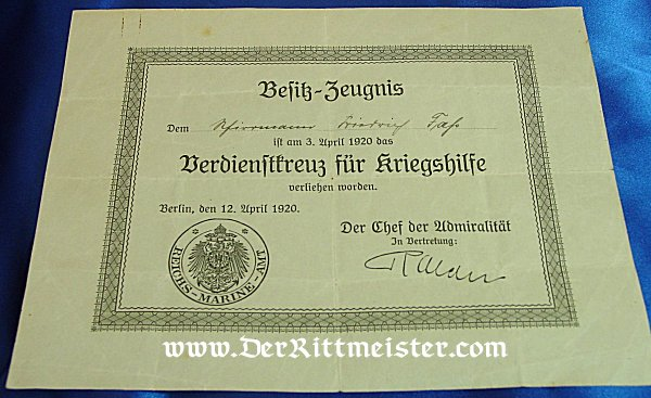 DOCUMENT FOR SAILOR WHO RECEIVED THE VERDIENSTKREUZ FÜR KRIEGSHILFE - Imperial German Military Antiques Sale