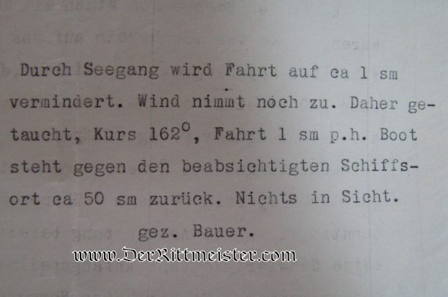 U-BOOT UC 14 KRIEGSTAGBUCH (WAR DIARY) - OBERLEUTNANT zur SEE BAUER COMMANDING - Imperial German Military Antiques Sale