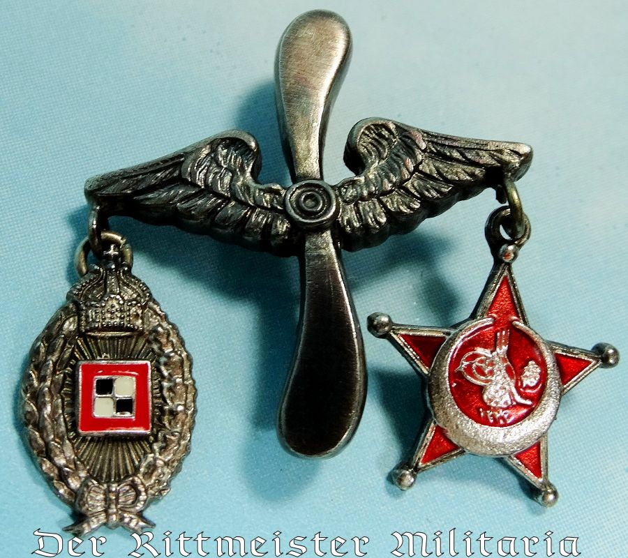 AVIATOR'S THREE-PLACE TIE BAR/LAPEL DECORATION - Imperial German Military Antiques Sale