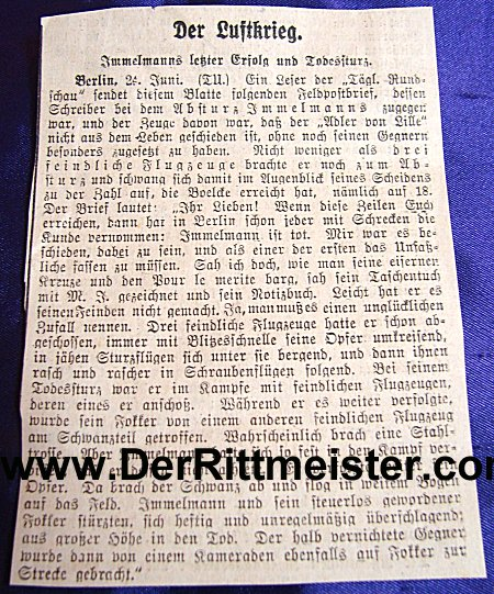 NEWS CLIPPING - MAX IMMELMANN'S LAST VICTORY AND DEATH - Imperial German Military Antiques Sale