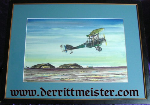 ORIGINAL PAINTING - BRITISH BE 2c (IDENTIFIED AS A BE 12) TAKING OFF FROM AIRFIELD by JACK D. HUNTER - Imperial German Military Antiques Sale