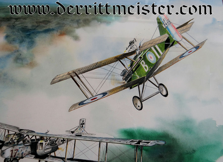 JACK D. HUNTER - ORIGINAL PAINTING - FEATURING GOTHA G. V. BOMBER ATTACKED BY SE-5A - Imperial German Military Antiques Sale