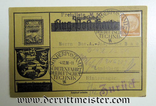 1938 GERMAN ENGINEERING POSTCARD - Imperial German Military Antiques Sale
