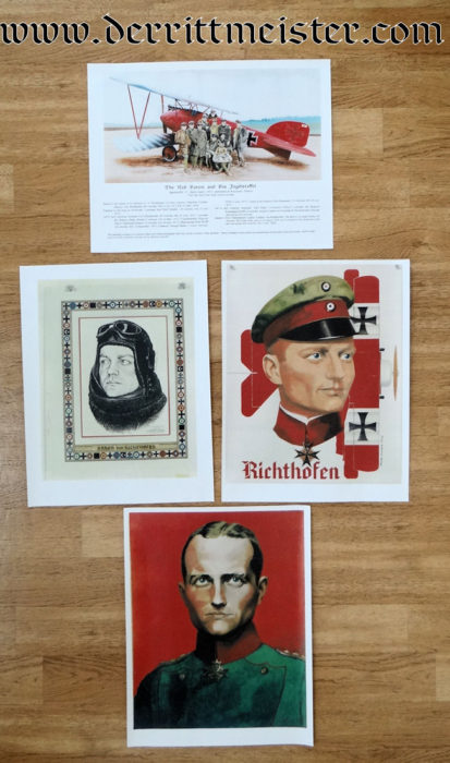 COLORIZED PRINTS MADE FROM WARTIME PHOTOGRAPH OF MANFRED von RICHTHOFEN WITH EARLY JASTA 11 MEMBERS - Imperial German Military Antiques Sale