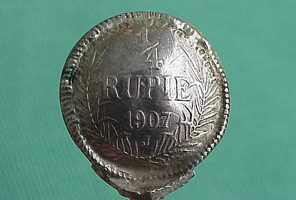 SPOONS - MADE FROM 1/4 RUPIE COINS FROM GERMAN EAST AFRICA - Imperial German Military Antiques Sale