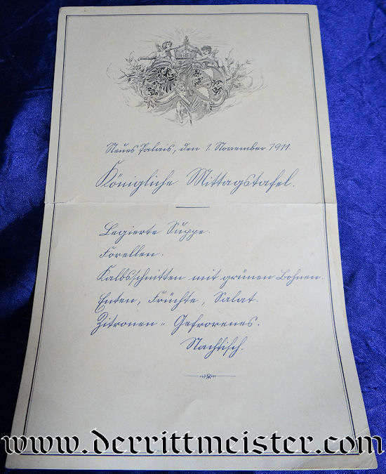 MENU FOR DINNER AT BERLIN'S NEUES PALAIS 1 NOVEMBER 1911 - Imperial German Military Antiques Sale