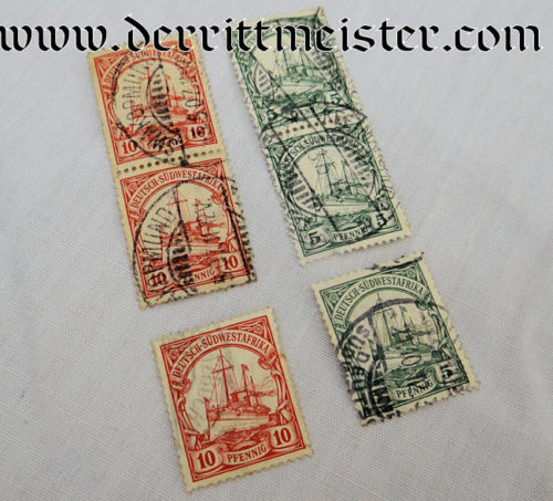 STAMPS - SIX USED - COLONIAL GERMAN SOUTHWEST AFRICA - Imperial German Military Antiques Sale
