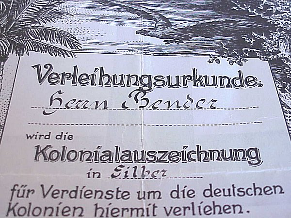 AWARD DOCUMENT -  KOLONIALAUSZEICHNUNG BADGE - Imperial German Military Antiques Sale