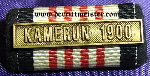 RIBBON BAR WITH KAMERUN 1900 SPANGE - Imperial German Military Antiques Sale