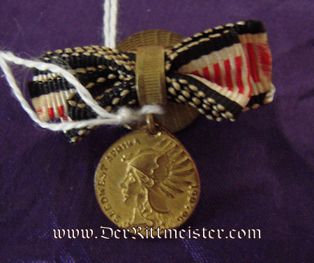 COMBATANT'S MINIATURE BOUTONNIERE - SOUTHWEST AFRICAN DENKMÜNZE - Imperial German Military Antiques Sale