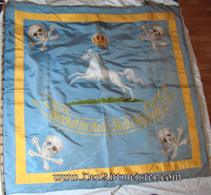 BANNER WITH FLAG POLE - BRAUNSCHWEIG - HUSAREN-REGIMENT Nr 17 AND INFANTERIE-REGIMENT NR 92 - - Imperial German Military Antiques Sale