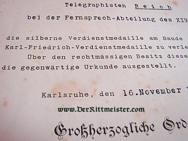 AWARD DOCUMENT - SILVER SERVICE MEDAL OF THE MILITARY KARL-FRIEDRICH SERVICE MEDAL - BADEN - Imperial German Military Antiques Sale