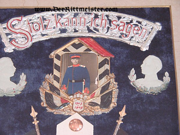 FRAMED REMEMBRANCE - ARMY SERVICE - Imperial German Military Antiques Sale