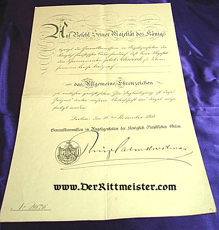 AWARD DOCUMENT - GENERAL HONOR DECORATION - PRUSSIA - Imperial German Military Antiques Sale