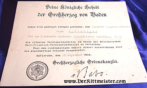 AWARD DOCUMENT-SILVER SERVICE MEDAL - BADEN - Imperial German Military Antiques Sale