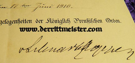 AWARD DOCUMENT - ORDER - RED EAGLE 4th CLASS - Imperial German Military Antiques Sale
