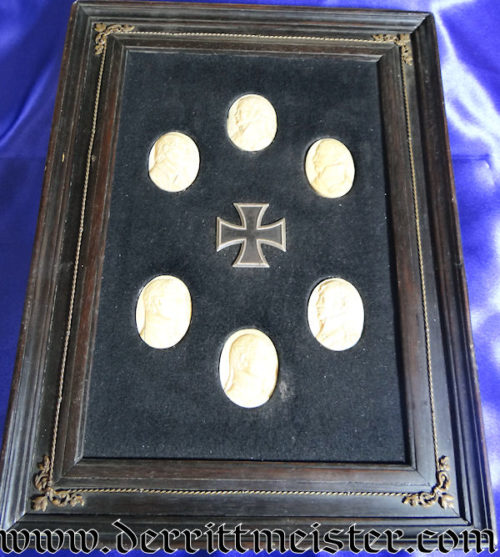 1813 IRON CROSS 1st CLASS FRAMED DISPLAY WITH IVORY OVAL PORTRAITS PRESENTED TO GENERALMAJOR von DER HEYDE - Imperial German Military Antiques Sale