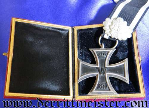 1870 IRON CROSS 2nd CLASS AND 25-YEAR OAK LEAVES WITH RED-EAGLE-STYLE PRESENTATION CASE - Imperial German Military Antiques Sale