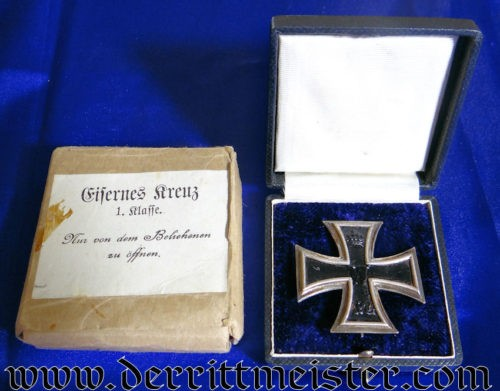 """KO"" IRON CROSS 1st CLASS WITH ORIGINAL PRESENTATION CASE AND CARDBOARD SHIPPING CARTON - Imperial German Military Antiques Sale"