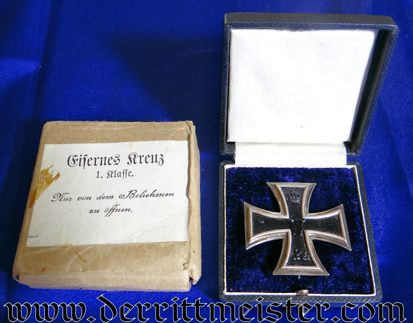 """IRON CROSS - 1914 - 1st CLASS - """"KO""""  - WITH ORIGINAL PRESENTATION CASE AND CARDBOARD SHIPPING CARTON - Imperial German Military Antiques Sale"""