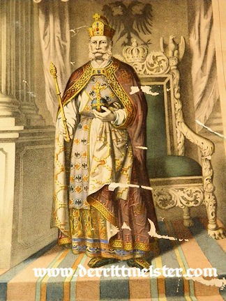 COLOR LITHOGRAPH OF THE CORONATION OF KAISER WILHELM I - Imperial German Military Antiques Sale