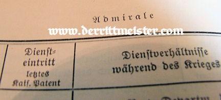 EHRENRANGLISTE DER KAISERLICHE DEUTSCHEN MARINE - 1914-1918 - Imperial German Military Antiques Sale