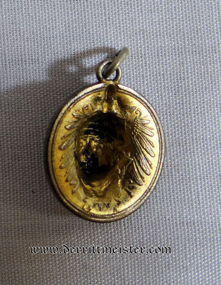 PATRIOTIC PENDANT - ONE PFENNIG COIN KAISER WILHELM II - Imperial German Military Antiques Sale