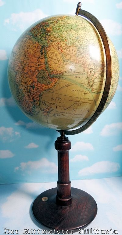 WORLD GLOBE SHOWING GRAF ZEPPELIN'S (LZ-127) VARIOUS ROUTES - Imperial German Military Antiques Sale