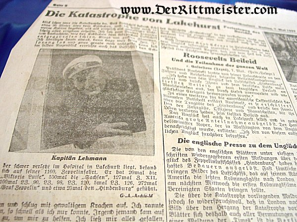 ORIGINAL 1937 FRONT PAGE - ZEPPELIN HINDENBURG CRASH - Imperial German Military Antiques Sale