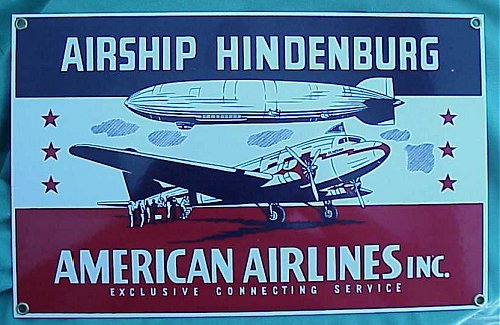AIRSHIP HINDENBURG/AMERICAN AIRLINES METAL PLAQUE - Imperial German Military Antiques Sale