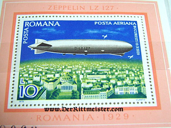 LARGE FORMAT POSTAGE STAMP - LZ-127 GRAF ZEPPELIN - OVER ROMANIA'S CAPITAL - Imperial German Military Antiques Sale