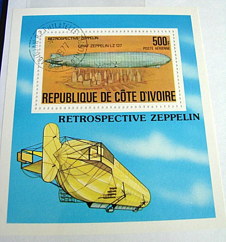 LARGE FORMAT POSTAGE STAMP - GRAF ZEPPELIN - REPUBLIC DE COTE D'IVOIRE - Imperial German Military Antiques Sale