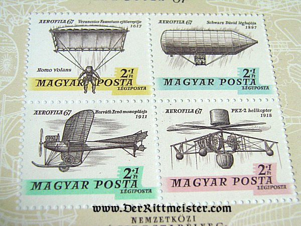 PLATE BLOCK - FOUR STAMPS - HUNGARY - EXPLORING AVIATION ERAS - Imperial German Military Antiques Sale