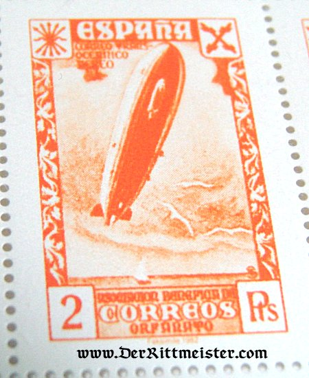 BLOCK - EIGHT STAMPS - SPAIN - ZEPPELIN - Imperial German Military Antiques Sale