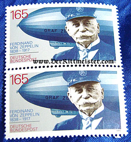 - TWO STAMPS - GRAF FERDINAND von ZEPPELIN AND ZEPPELINS - GERMAN BUNDESPOST - Imperial German Military Antiques Sale