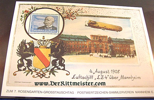 SPECIAL DISPLAY CARD - GRAF ZEPPELIN POSTAGE STAMP - GERMANY - Imperial German Military Antiques Sale