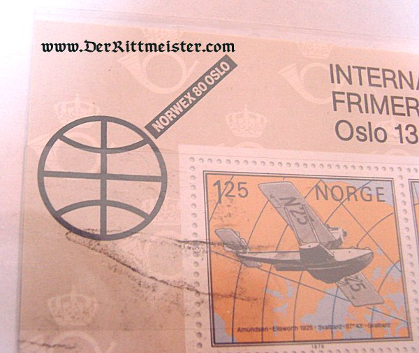 SPECIAL DISPLAY CARD - FOUR POSTAGE STAMP PLATE - INTERNATIONAL AVIATION - NORWAY - Imperial German Military Antiques Sale